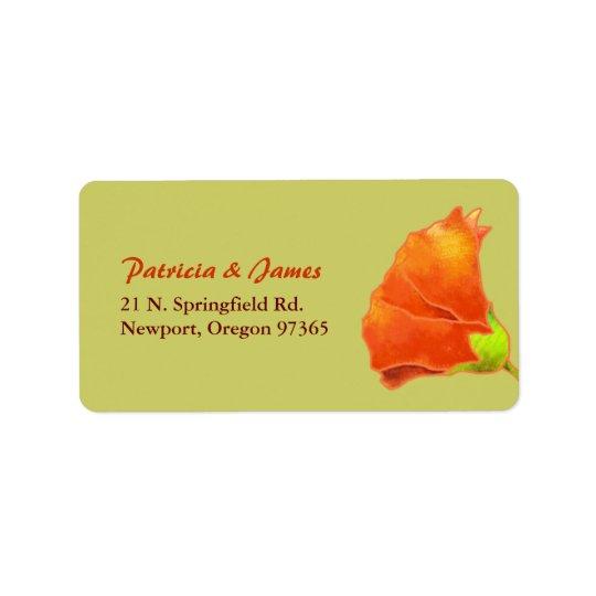 Roter Hollyhock-einfache Hochzeits-Adresse Adressaufkleber