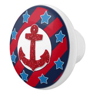 Roter Imitat-Glitter-Anker   nautisch Keramikknauf