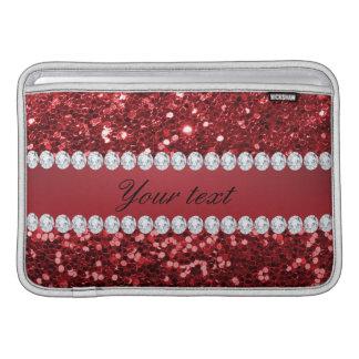 Roter Imitat-Glitter und Diamanten MacBook Sleeve