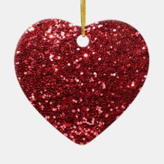 Roter Imitat-Glitzer Keramik Ornament