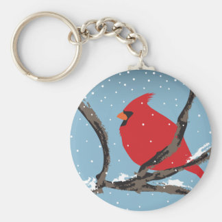 Roter Kardinal auf einer Niederlassung Keychain Schlüsselanhänger
