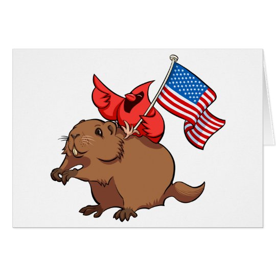 Roter Kardinal, der ein Groundhog mit Grußkarte