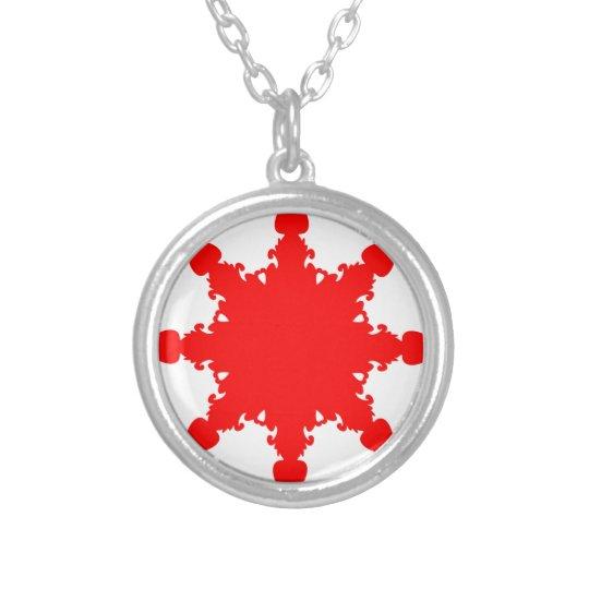 Roter Kreisdruck Halskette Mit Rundem Anhänger