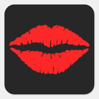 Roter Lippenaufkleber Quadratischer Aufkleber