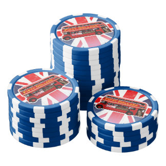 Roter London-Bus themenorientiert Poker Chip Set