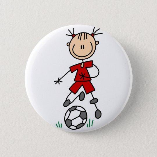 Roter Mädchen-Fußball-Spieler-Knopf Runder Button 5,1 Cm