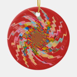 Roter magischer Pinwheel-Weihnachtsbaum-Flitter Rundes Keramik Ornament