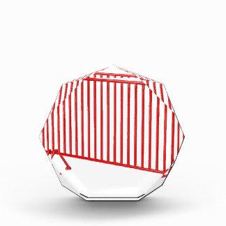 Roter mobiler Zaun Acryl Auszeichnung