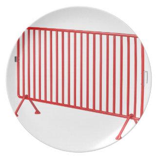 Roter mobiler Zaun Melaminteller