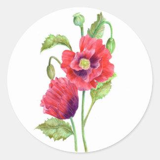 Roter Mohnblumen-Aufkleber Runder Aufkleber