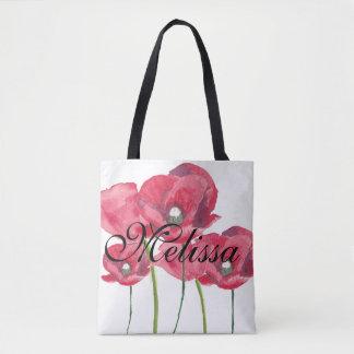 Roter Mohnblumen-Schwarz-Name - addieren Sie Ihren Tasche