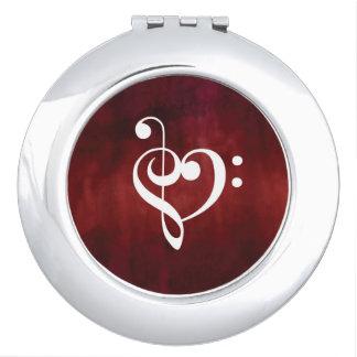 Roter Musik-Herz-Entwurf Taschenspiegel