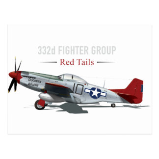 Roter Mustang des Schwanz-P-51 der Tuskegee Postkarte