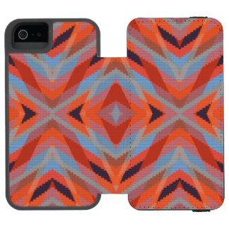 Roter orange blauer geometrischer gestrickter incipio watson™ iPhone 5 geldbörsen hülle