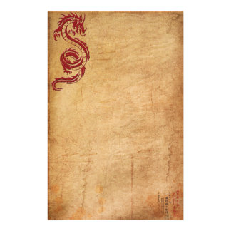 Roter orientalischer Drache II Personalisiertes Büropapier