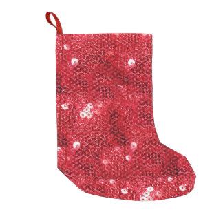 Roter Paillette-Blick Hintergrund Kleiner Weihnachtsstrumpf