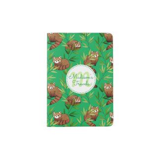 Roter Panda-u. Bambus-Blätter Muster u. Monogramm Passhülle