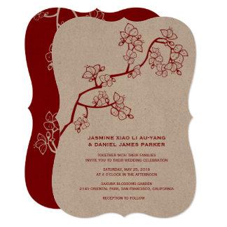 Roter Pfirsich blüht Kirschblüte, die chinesische 12,7 X 17,8 Cm Einladungskarte