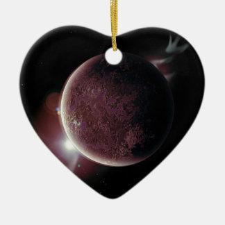 roter Planet im Universum mit Aura und Sternen Keramik Ornament