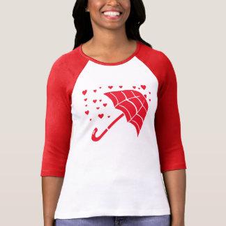 Roter Regenschirm-Herz-Damenraglan-T - Shirt