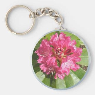 Roter Rhododendron Standard Runder Schlüsselanhänger