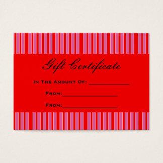 roter rosa gestreifter Geschenkgutschein Visitenkarte