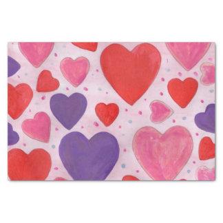 Roter rosa und lila Herz-Entwurf des Valentines Seidenpapier