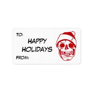 Roter Schädel in der Weihnachtsmannmütze Adressetiketten