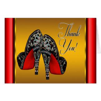 Roter Schwarz-und Goldhoher Heels dankt Ihnen Mitteilungskarte