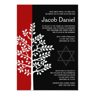 Roter schwarzer Baum von Leben-Bar Mitzvah 12,7 X 17,8 Cm Einladungskarte