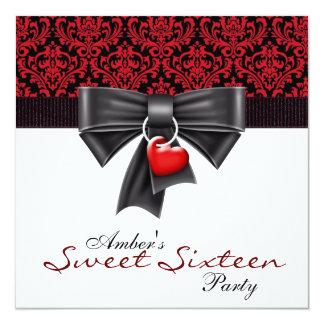 Roter schwarzer Damast-Bonbon 16 Geburtstags-Party Quadratische 13,3 Cm Einladungskarte