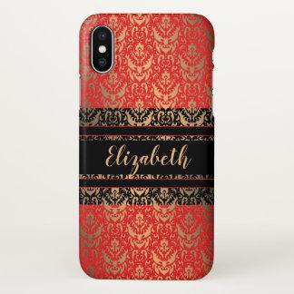 Roter, Schwarzer und Golddamast eleganten iPhone X Hülle