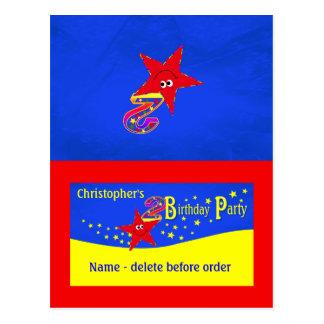 Roter smiley-Stern-2. Geburtstags-Party-Platzkarte Postkarte