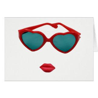 Roter Sonnenbrille-und Süßigkeits-Lippenfreier Karte