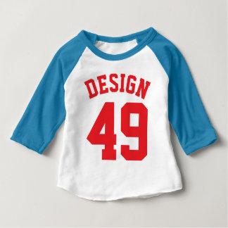 Roter Sport-Jersey-Entwurf des weißen u. blauen Baby T-shirt
