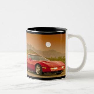 Roter Sportwagen - Corvetta Zweifarbige Tasse