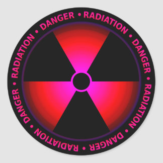 Roter Strahlungs-Symbol-Aufkleber Runder Aufkleber