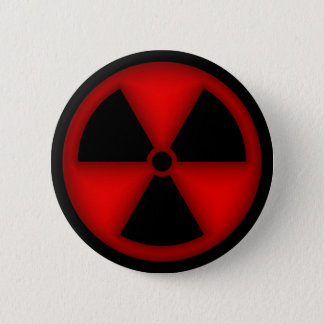 Roter Strahlungs-Symbol-Knopf Runder Button 5,1 Cm