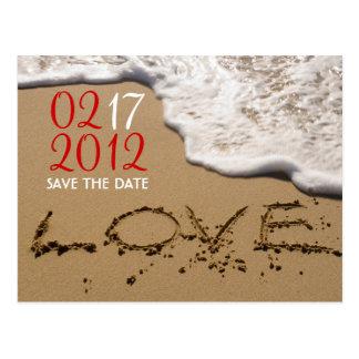 "Roter Strand ""Liebe im Sand"" Save the Date Postkarte"