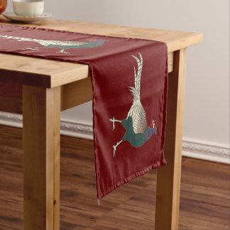 Roter Tabellenläufer Retro schicken Fasanvogel Großer Tischläufer