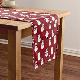 Roter Tabellenläufer weißes niedliches Snowman Großer Tischläufer