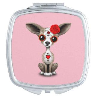Roter Tag der toten Chihuahua Schminkspiegel