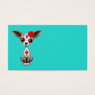 Roter Tag der toten Chihuahua Visitenkarte
