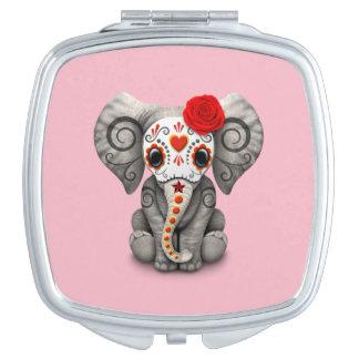 Roter Tag des toten Elefanten Taschenspiegel