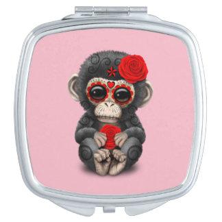 Roter Tag des toten Schimpansen Taschenspiegel