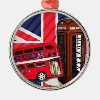 Roter Telefonstand Retro Silbernes Ornament
