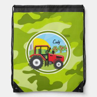 Roter Traktor; hellgrüne Camouflage, Tarnung Sportbeutel