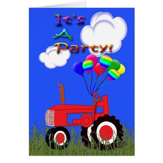 Roter Traktor mit Ballon-Party Einladungs-Karte Grußkarte