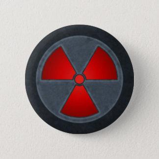 Roter u. grauer Strahlungs-Symbol-Knopf Runder Button 5,7 Cm