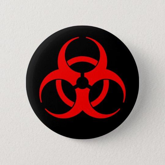 Roter u. schwarzer Biogefährdung-Symbol-Knopf Runder Button 5,7 Cm